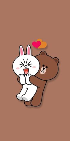 Cute Wallpapers For Android, Kawaii Cute Wallpapers, Cute Desktop Wallpaper, Brown Wallpaper, Aesthetic Iphone Wallpaper, Cartoon Wallpaper, Cute Love Cartoons, Cute Cartoon, Line Brown Bear