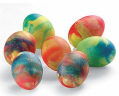 Tie-Dyed Easter eggs.  I've made these in the past.  They are super easy and really fun!