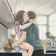Cute Couple Drawings, Cute Couple Cartoon, Anime Couples Drawings, Cute Love Cartoons, Cute Couple Art, Cute Drawings, Romantic Anime Couples, Cute Couple Wallpaper, Manga Cute