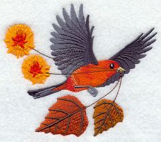 "Flying Scarlet Tanager with Autumn Leaves and Flowers	Product ID:	F5829 Size:	5.44""(w) x 4.74""(h) (138.2 x 120.3 mm)	Color Changes:	20 Stitches:	29507	Colors Used:	16"