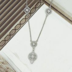 """EUPHORIA .03 CTTW DIAMOND ROUND LINK STERLING SILVER 18"""" NECKLACE STATION NECKLACES ARE SO LOVELY"""