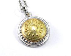 Train CONDUCTOR Necklace, Antique Train Button Necklace, RAILROAD Uniform Button Pendant, TRAVEL Train Adventure Jewelry