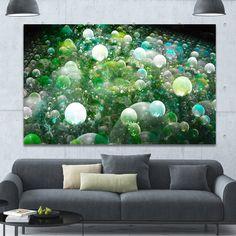 Designart 'Green Fractal Molecule Pattern' Extra Abstract Canvas Wall Art