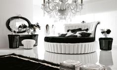 Fancy Black And White Bedroom Design Inspirations : Glamorous Black and White Themed Bedroom Design with Round Platform Bed and Luxurious Ch...