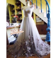 Romantic Custom Tulle One Shoulder Wedding Dress Ball Gown w/ Flowers (Other Colors Available) on Etsy, $780.00