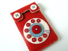 Japan Relief: Phone iPhone case No.58 (red/smoky turquoise) ... too cute