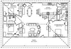 Floor plan for the Kodiak Steel Homes Northbrook 1: 1,920 Square Feet. #steel #floorplans #architecture