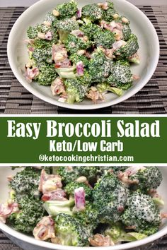 Easy Broccoli Salad with Bacon - Keto and Low Carb Looking for a great dish to t. - Easy Broccoli Salad with Bacon - Keto and Low Carb Looking for a great dish to take to your next BBQ? This is so easy to make, is packed with flavor. Low Carb Recipes, Diet Recipes, Healthy Recipes, Slimfast Recipes, Best Low Carb Meals, Easy Diabetic Recipes, Keto Meals Easy, Keto Recipes With Bacon, Soup Recipes