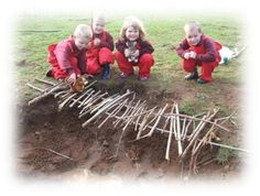 Using both gross and fine motor skills, the group can work together as a team to build natural bridges, whether big or small. Bridges can be created over holes, or from tree stump to tree stump. Parents could even measure how strong the bridges are with found objects! Book pairing, The Three Billy Goats Gruff.