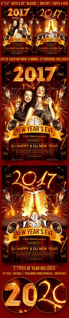 New Year's Eve Party Flyer — Photoshop PSD #glam #invitation • Available here → https://graphicriver.net/item/new-years-eve-party-flyer/9369261?ref=pxcr