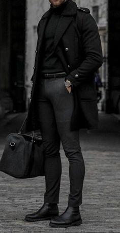 Men's Casual Fashion Woolen Coat – Fashion Winter Outfits Men, Stylish Mens Outfits, Casual Outfits, Stylish Clothes For Men, Mens Winter Boots, Casual Chic Style, Men Casual, Casual Menswear, Classy Style