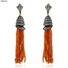 Diamond and coral tassel earrings