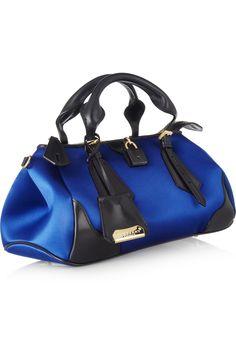 Burberry Prorsum|Silk-sateen and leather tote|NET-A-PORTER.COM