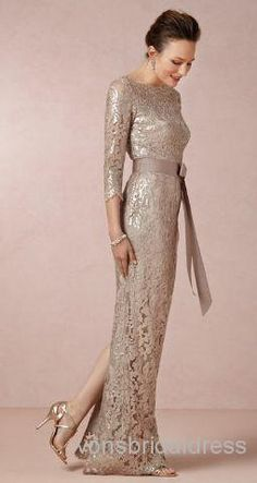 Wholesale Mother of Bride Dresses - Buy 30% Off!! 2014 Hot Sale Boat Neck 3 Quarters Sleeves Gray Lace Split Elegant Mother of the Bride Dresses Evening Prom Gown, $115.92 | DHgate
