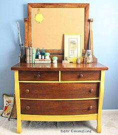 2 tone woodland reverse stencil dresser, painted furniture