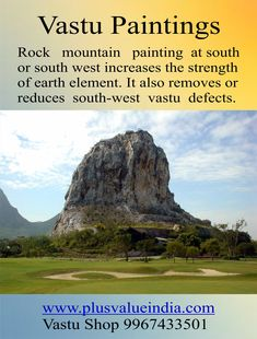 Rock Mountain Canvas Vastu Feng Shui Painting for Home & Office