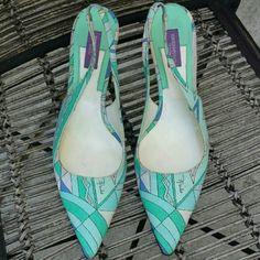 """Emilio Pucci Kitten Heels - Florence Italy Beautiful geometric pattern, slingback, unique silver heel design 2 1/2"""". Emilio Pucci Designer. Made in Florence (Firenze) Italy. Emilio Pucci Shoes Heels $70"""