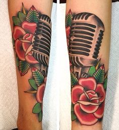 Traditional microphone tattoo by Carrie Daniels