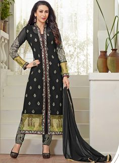 Karisma Kapoor Black Georgette Pencil Style Churidar Suit