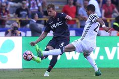 Emil Krafth of Bologna FC in action during the Serie A match between Bologna FC and Juventus FC at Stadio Renato Dall'Ara on May 27, 2017 in Bologna, Italy.