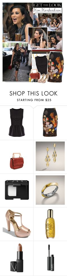 """Get the look: Kim Kardashian"" by planetlipstick ❤ liked on Polyvore featuring Oasis, Dolce&Gabbana, Ted Baker, John Hardy, NARS Cosmetics, MICHAEL Michael Kors, Clinique, top handle bags, studded gladiator sandals and bucket bags"