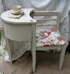 Gossip Bench Telephone Stand/Gossip seat Shabby Chic Telephone/gossip table vintage 1940's, via Etsy.