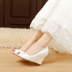 satin wedding shoes womens sandals strap sandals Comfortable silver wedding sandals Unique Design Wedge Shoes for Wedding Bride Closed Toe Wedges for Women, Medium Heels - Heels:3.5 inch
