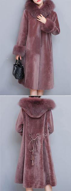 Women Faux Fur Coat Hooded Long Coat