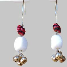White Agate and Red Glass Bead Earrings, Handmade Bead Earrings, Long Dangle and Drop Earrings, Earrings With Silver Balls,Mother's Day Gift by SunMoonJewels on Etsy