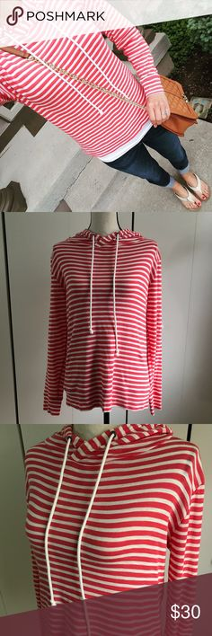 """J. Crew Striped Cotton Pullover Hoodie Only worn once! Super comfy, thin and soft material. 100% cotton. Length-25"""". J. Crew. Size- Small. J. Crew Tops Sweatshirts & Hoodies"""