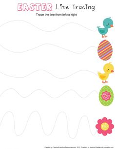 Happy Easter Worksheet for Kids - Preschool and Kindergarten Easter Activities For Preschool, Preschool Writing, Spring Activities, Preschool Curriculum, Toddler Activities, Homeschool, Easter Worksheets, Tracing Worksheets, Worksheets For Kids