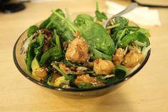 Salata Tokio cu pui și mango Spinach, Sandwiches, Mango, Chicken, Meat, Vegetables, Food, Salads, Manga