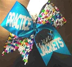 a339a08080 Practice Wins Jackets Aqua Mystique and Rainbow Shingle Sequins Cheer Bow   18 www.BowsByApril.