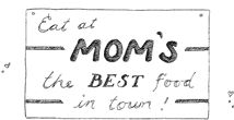 Eat at Mom's Vintage Sign. Artwork by Gooseberry Patch.