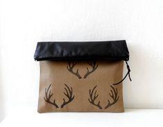 Antler  Foldover Clutch, women handbag, Hand Stamped Antler prints, woodland winter fashion on Etsy, $39.00