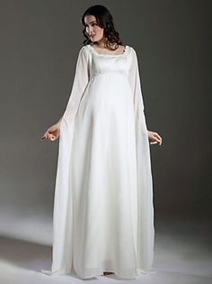 Sheath/ Column Empire Square Floor-length Satin Chiffon Maternity Wedding Dress with Split Front - Super Sale Offer Upto Off on Light In The Box UK. Cheap Wedding Dresses Online, Classic Wedding Dress, Wedding Dresses Plus Size, Lace Wedding Dress, Wedding Gowns, Dress Lace, Wedding Venues, Pregnant Wedding Dress, Maternity Wedding