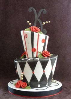 red and black whimsical cake by RebeccaSutterby