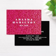 Trendy  chic sophisticated hot pink black GLITTER Business Card - glitter gifts personalize gift ideas unique