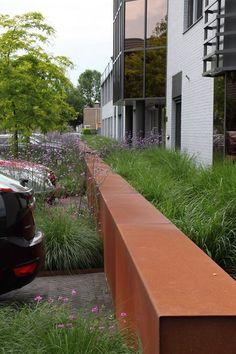 ADEZZ planters & more Corten Steel, Steel Wall, Garden Design, Planters, Sidewalk, Landscape, Public, Walls, Stuff To Buy