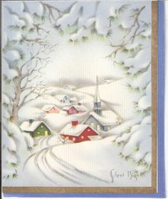 Vintage Christmas Card - Snow Covered Village with Foil Insert