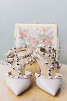 studded Valentino heels, photo by Clean Plate Pictures http://ruffledblog.com/romantic-brooklyn-winery-wedding #shoes #valentino #wedding