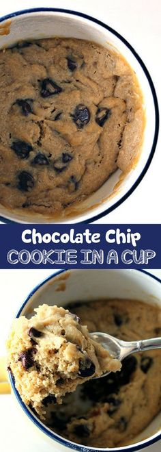 Chocolate Chip Cookie in a Cup   One of my favorite easy chocolate dessert recipes! It's a quick and easy homemade chocolate chip cookie in a cup! For more easy food recipes, creative craft ideas, easy home decor and DIY projects, check us out at #no2penc