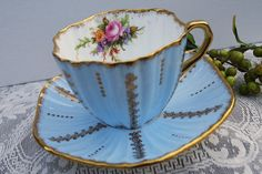 Foley Tea Cup and Saucer Blue and Gold Teacup by PinkDahliaStudio, $38.00