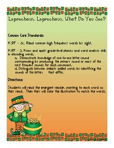 This super cute emergent reader is perfect for St. Patrick's Day!  This emergent reader is part of our St. Patrick's Day Lucky Learning unit.  See the description below of our full unit:*This freebie only includes the emergent reader.  For the entire unit, check our featured items!*This super fun mini unit includes 8 different math activities, 4 different literacy activities, 3 different writing activities, and a take-home project!