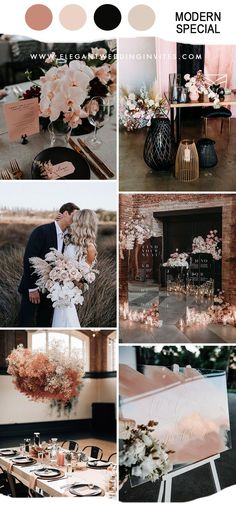 different dusty rose and black modern wedding party ideas Black Wedding Themes, Pink Wedding Theme, Dusty Rose Wedding, Blush Pink Weddings, Fall Wedding Colors, Wedding Color Schemes, Dream Wedding, Black Wedding Decor, Geek Wedding