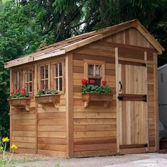 Features:  -No dangerous and time consuming cutting required.  -Manageable panel sizes.  -Western red cedar shingles already attached to shed roof panels.  -Minimum tools required to complete your she
