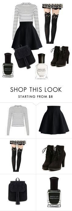 """Black and white"" by chocoladelovester ❤ liked on Polyvore featuring Chicwish, Deborah Lippmann, women's clothing, women, female, woman, misses and juniors"