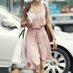 Irregular Pink Sleeveless Lycra-Cotton festival Dress