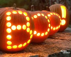 Boo Jack-o-Lanterns... So cute. Just use a drill with the right bit and this is an easy job!