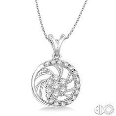 1/4 Ctw Round Cut Diamond Pendant in 10K White Gold with Chain